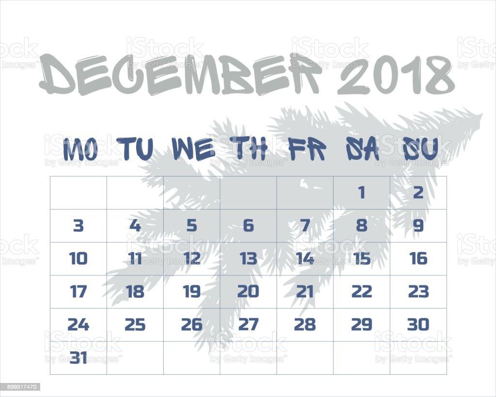 Calendario Diciembre.Ilustracion De Calendario Diciembre De 2018 Ingles Y Mas