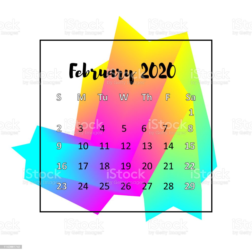 Calendar February 2020 Design 2020 Calendar Design Abstract Concept February 2020 Business Wall