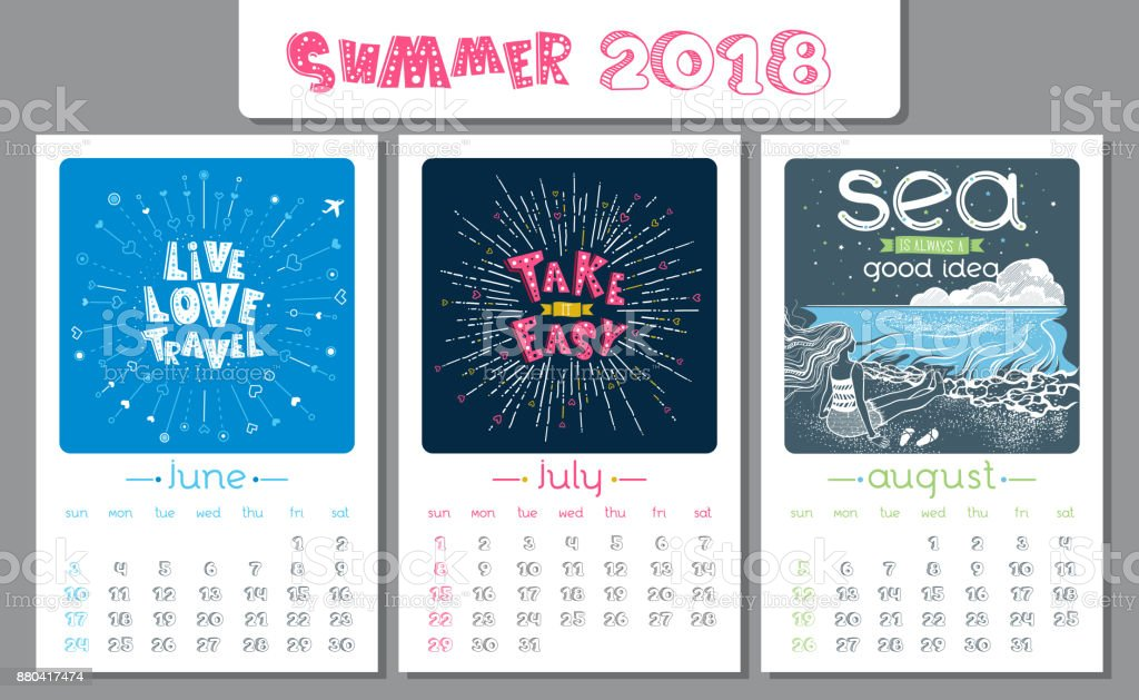 Calendar design for 2018 year. Summer. vector art illustration