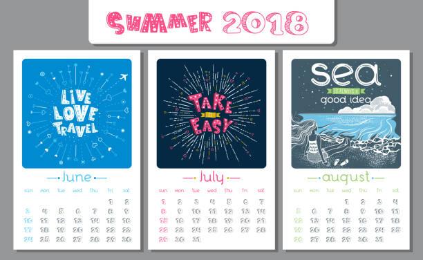 Calendar design for 2018 year. Summer. vector art illustration