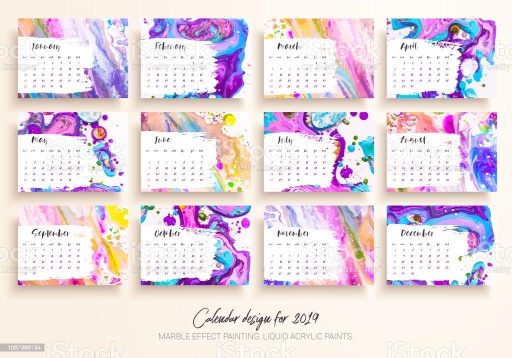 Ilustración de Diseño De Calendario Para El Año 2019 Conjunto De 12 ...