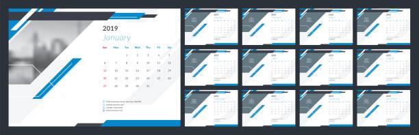 kalenderdesign für 2019 - kalendervorlage stock-grafiken, -clipart, -cartoons und -symbole