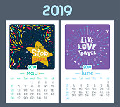 Calendar design for 2019 year. Vector illustration. Vintage style. Motivational quotes. Cute background, seasonal card. May, June