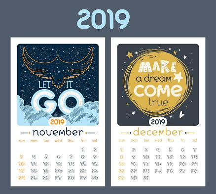 Calendar design for 2019 year.