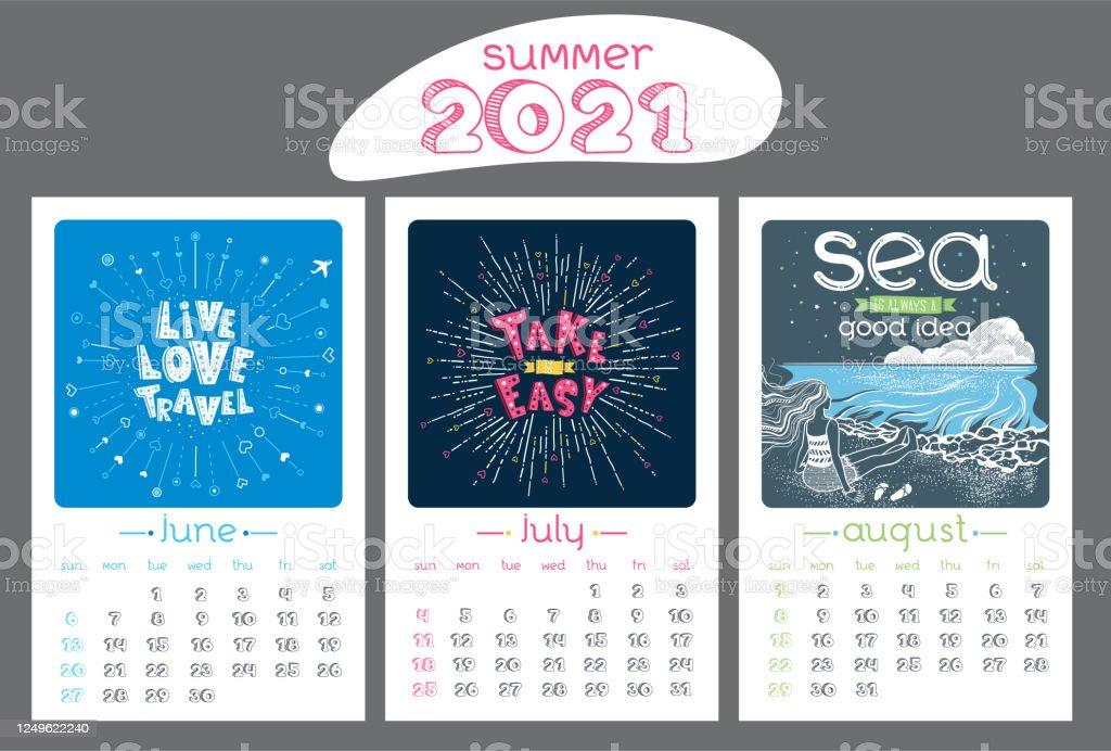 Summer 2021 Calendar Calendar Design For 2021 Year Summer Stock Illustration   Download