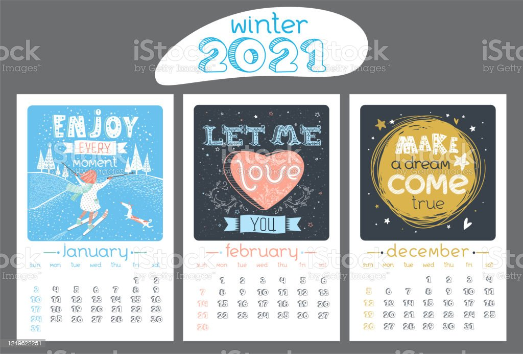 Calendar Design For 2021 Year Winter Stock Illustration