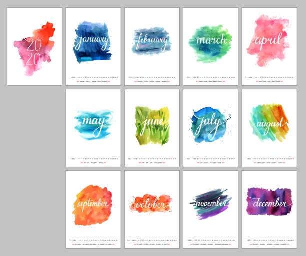 ilustraciones, imágenes clip art, dibujos animados e iconos de stock de diseño de calendario para el año 2020, una plantilla con la caligrafía, texturas de acuarela que representa los cambios en la naturaleza y un lugar para el texto o logo - calendario abstracto