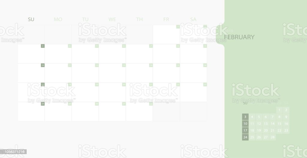 calendar design template for 2019 simple planner for february month