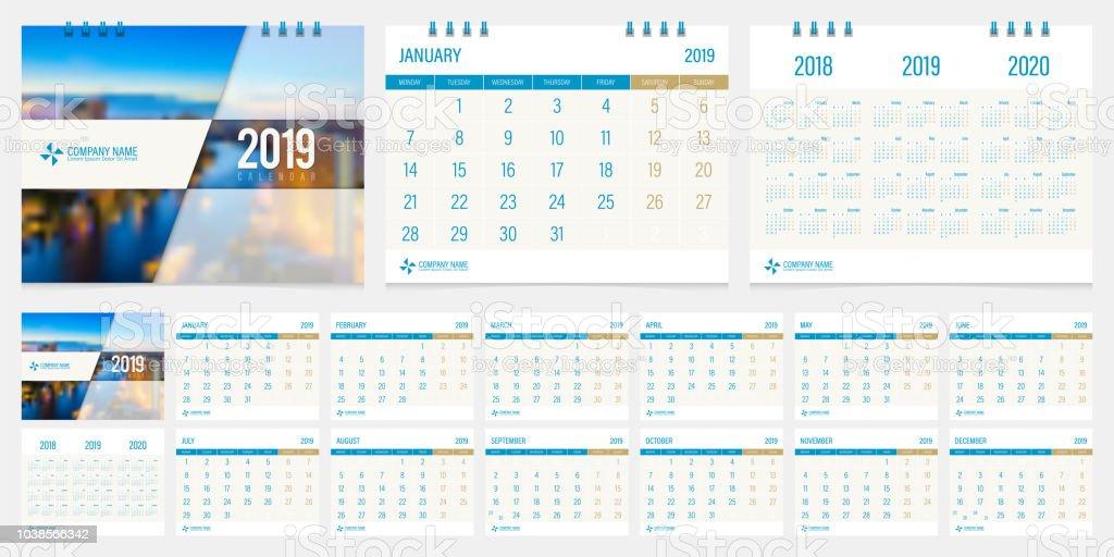 Semaine 2019 Calendrier.2019 Calendrier Design Template Vecteur Defini Debut De