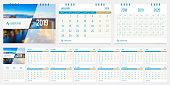 2019 calendar design template vector set week start Monday.