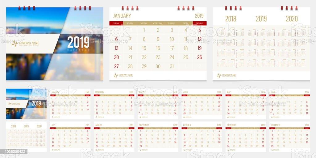 2019 Calendar Design Template Vector Set Week Start Sunday Stock