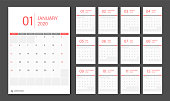 2020 Calendar design template week start Sunday.