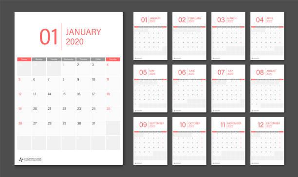 2020 Calendar design template week start Sunday. 2020 Calendar design template week start Sunday. january stock illustrations