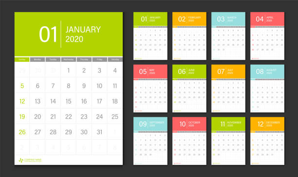 stockillustraties, clipart, cartoons en iconen met 2020 kalender ontwerp template week start zondag. - juni
