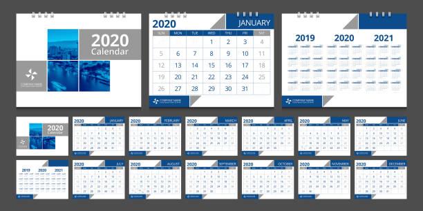 2020 Calendar design template week start Sunday. 2020 Calendar design template week start Sunday. calendars templates stock illustrations
