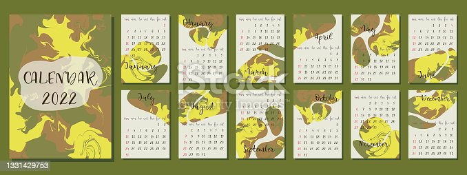 istock 2022 calendar design. Week starts on Sunday. Editable A4, A3 page template. Illustration with abstract background. 1331429753