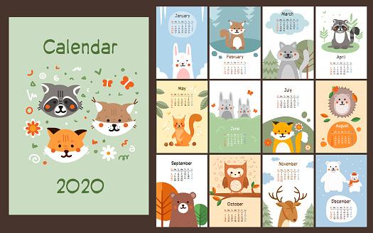 2020 calendar design with cute little animals