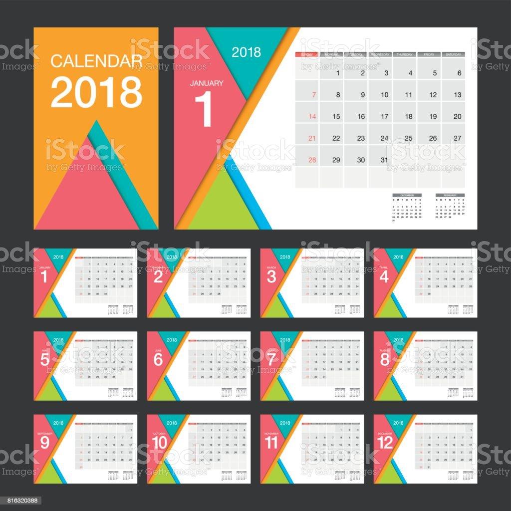 Ilustración de Calendario 2018 Plantilla De Diseño De Calendario De ...