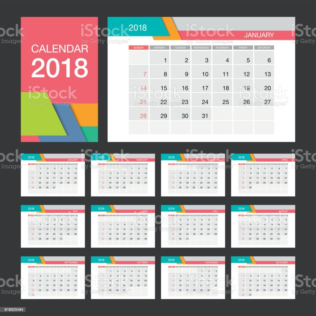 2018 calendar desk calendar modern design template week starts sunday vector illustration
