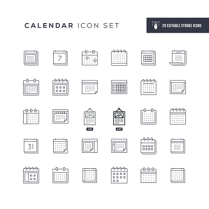 Calendar Editable Stroke Line Icons