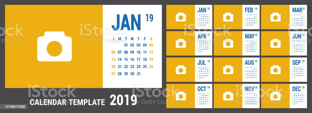 2019 calendar english calender color vector template week starts on