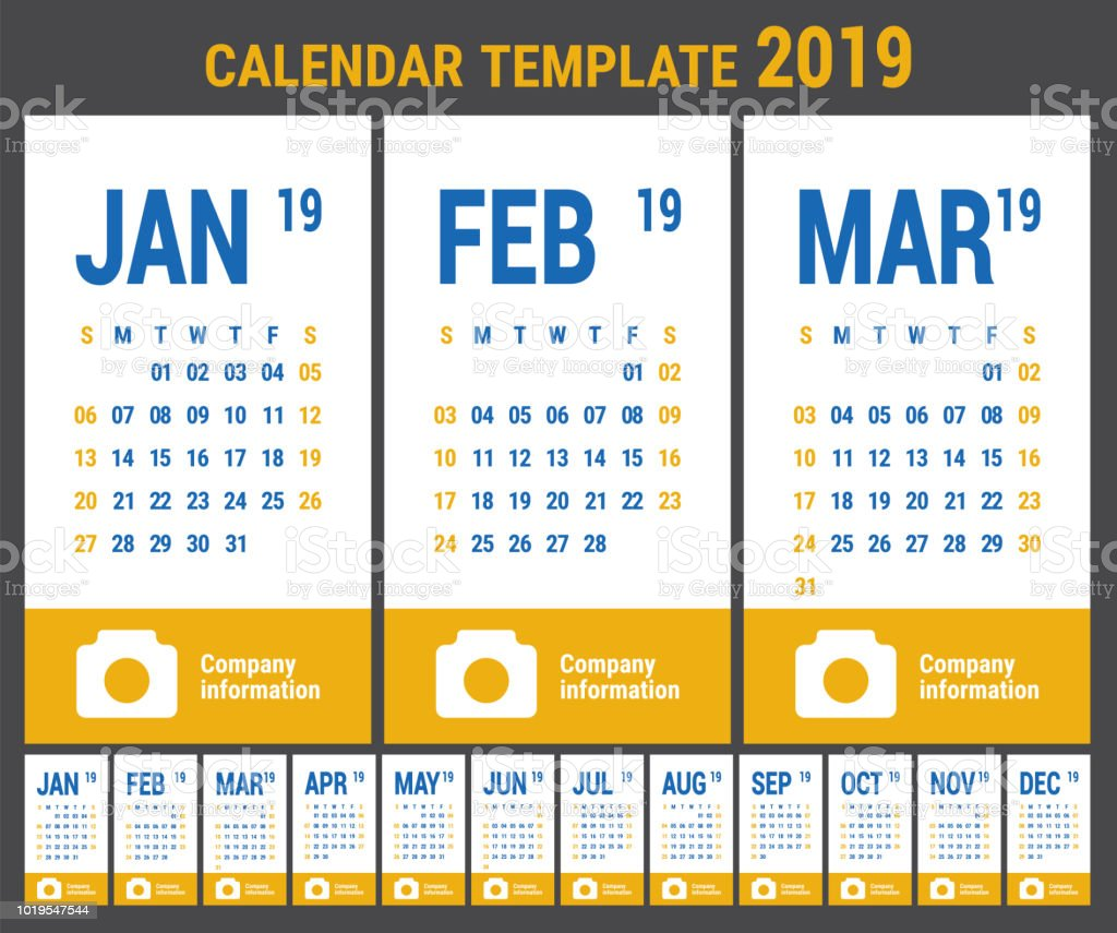 2019 Calendar English Calender Color Vector Template Week Starts On