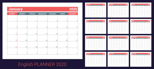 2020 calendar. english planner. сolor vector template. week starts on sunday. business planning. new year calender. clean minimal table. simple design - calendars templates stock illustrations