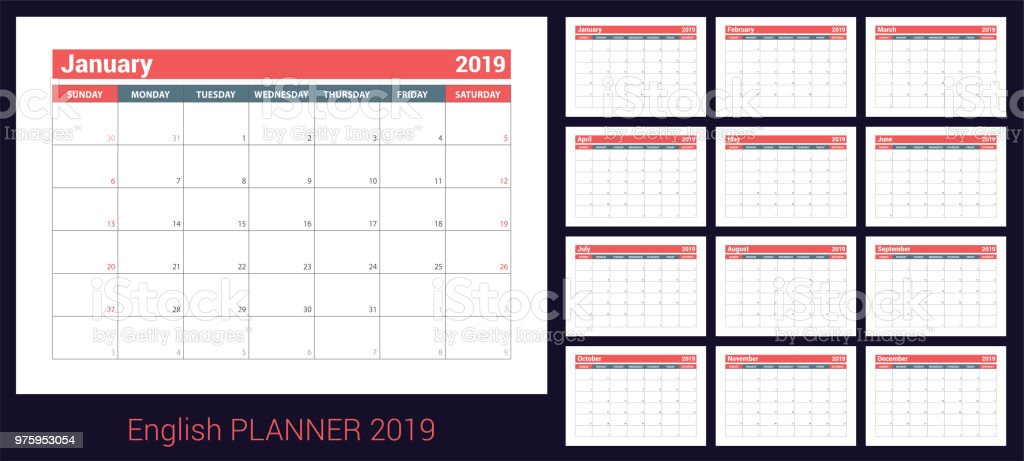 english planner olor vector template week starts on sunday business