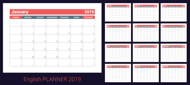 2019 calendar. english planner. сolor vector template. week starts on sunday. business planning. new year calender. clean minimal table - calendars templates stock illustrations