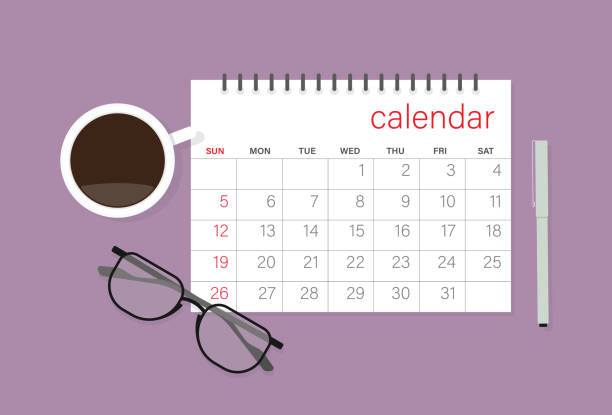 Calendar, eyeglasses, coffee cup and pen Time, Office hour, Holiday, Time management, Desk, Number, Month holiday calendars stock illustrations