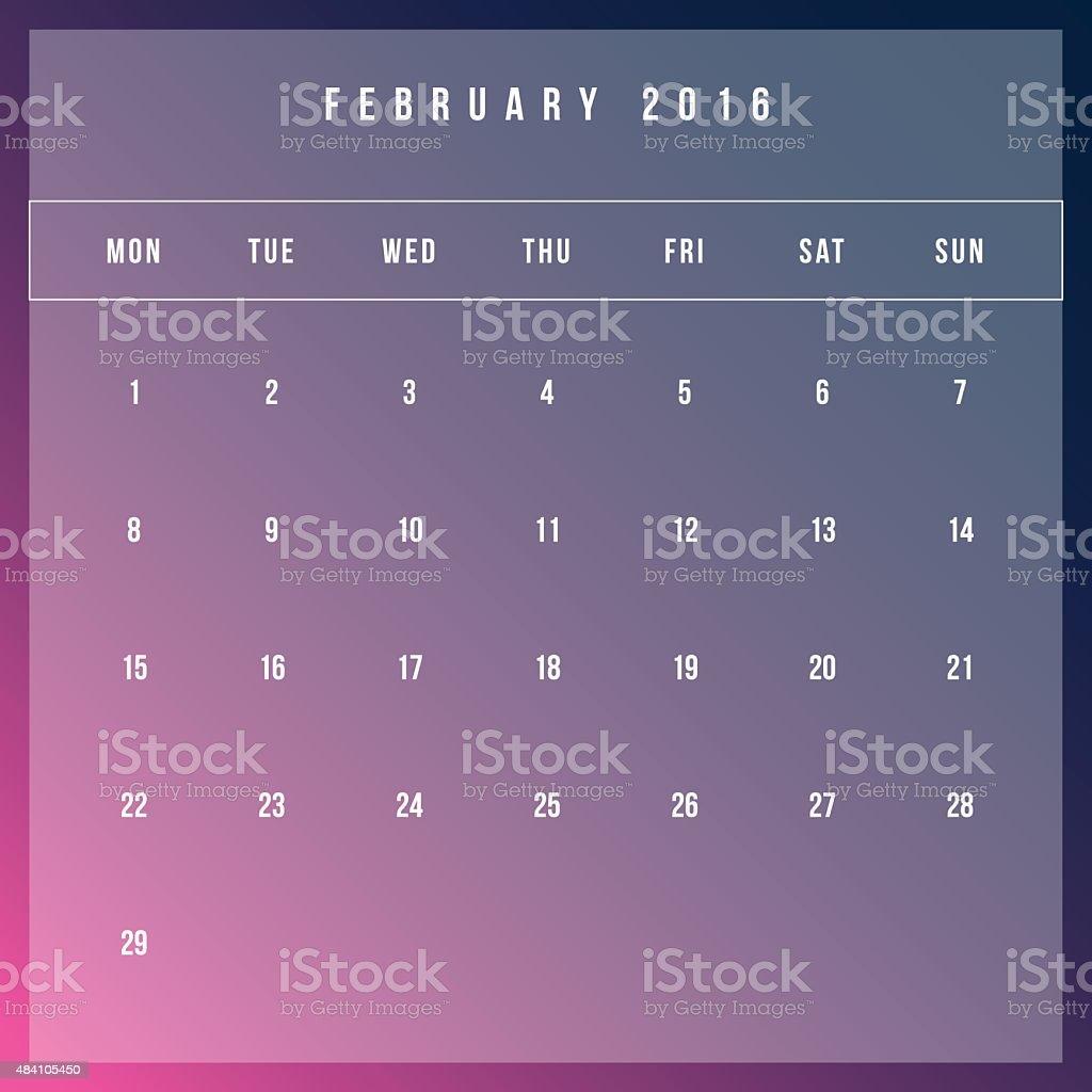Calendar February 2016 Vector Design Template Minimalism Style Stock