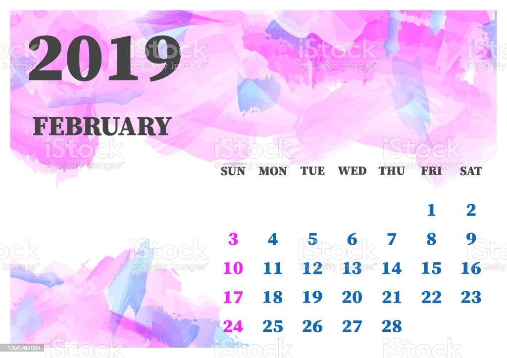 Purple February 2019 Calendar Calendar February 2019 Watercolor Vector Illustration Layers