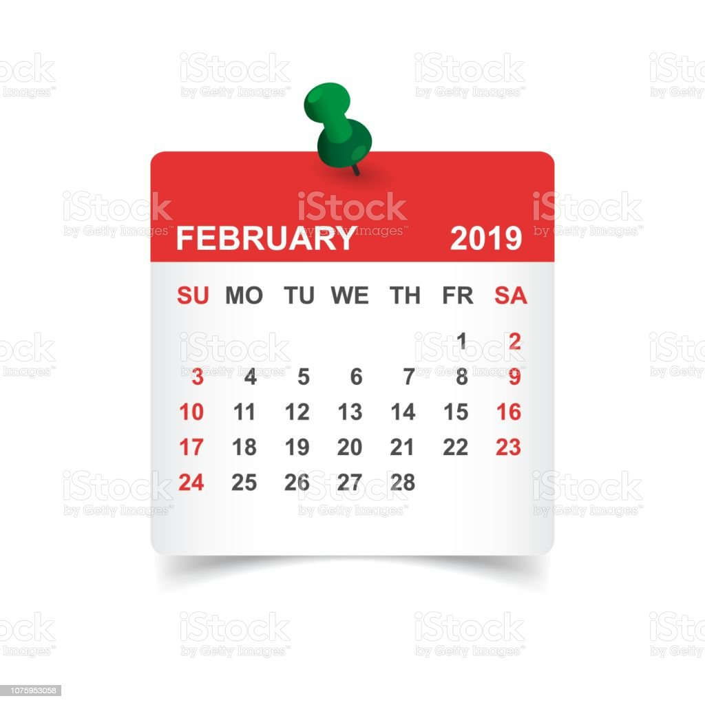 Calendar february 2019 year in paper sticker with pin. Calendar planner design template. Agenda february monthly reminder. Business vector illustration. vector art illustration