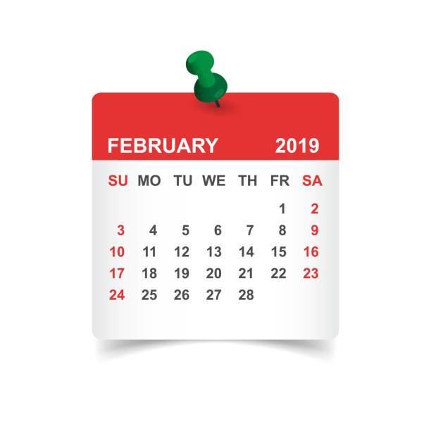 calendar february 2019 year in paper sticker with pin. calendar planner design template. agenda february monthly reminder. business vector illustration. - calendar stock illustrations, clip art, cartoons, & icons