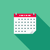 Calendar Flat Design School Supplies Icon with Side Shadow