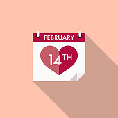 A flat design styled romance and Valentine's Day icon with a long side shadow. Color swatches are global so it's easy to edit and change the colors.