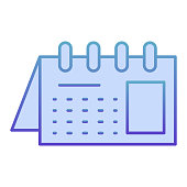 Calendar flat icon. Reminder on spiral blue icons in trendy flat style. Office agenda gradient style design, designed for web and app. Eps 10
