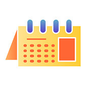 Calendar flat icon. Reminder on spiral color icons in trendy flat style. Office agenda gradient style design, designed for web and app. Eps 10