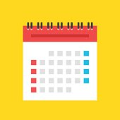 Calendar flat icon. US version. Vector illustration