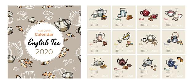 2020 calendar food and tea art vector set. Tea party sketched calendar. Set 12 month pages. Teapots, cups, cookies