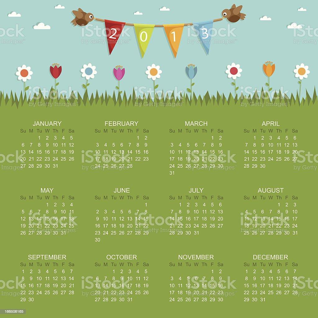 calendar for 2013 royalty-free stock vector art