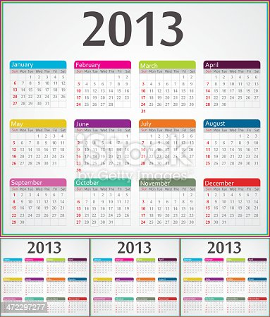 istock Calendar for 2013 year in four different languages 472297277