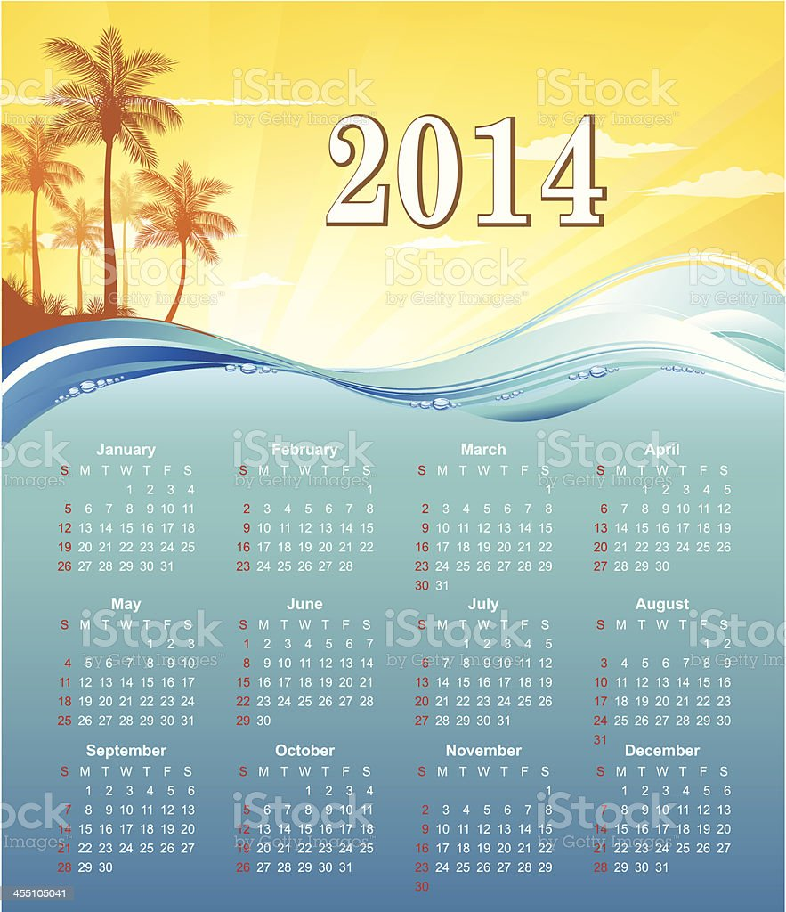 Calendar for 2014 - Vector vector art illustration