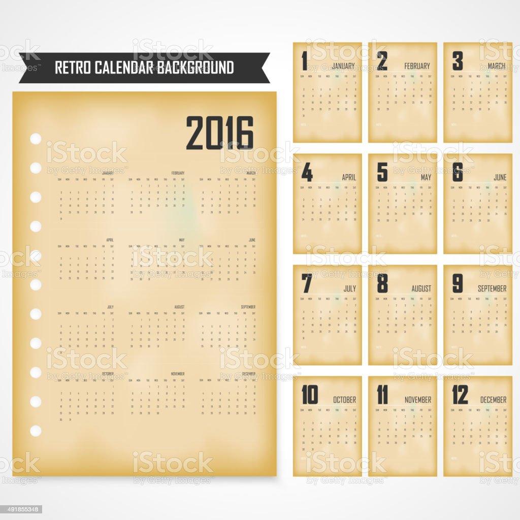 2016 年のカレンダー。2016 年のカレンダーのレトロなスタイルの ベクターアートイラスト