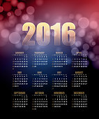 Calendar for 2016 on abstract background. Vector illustration