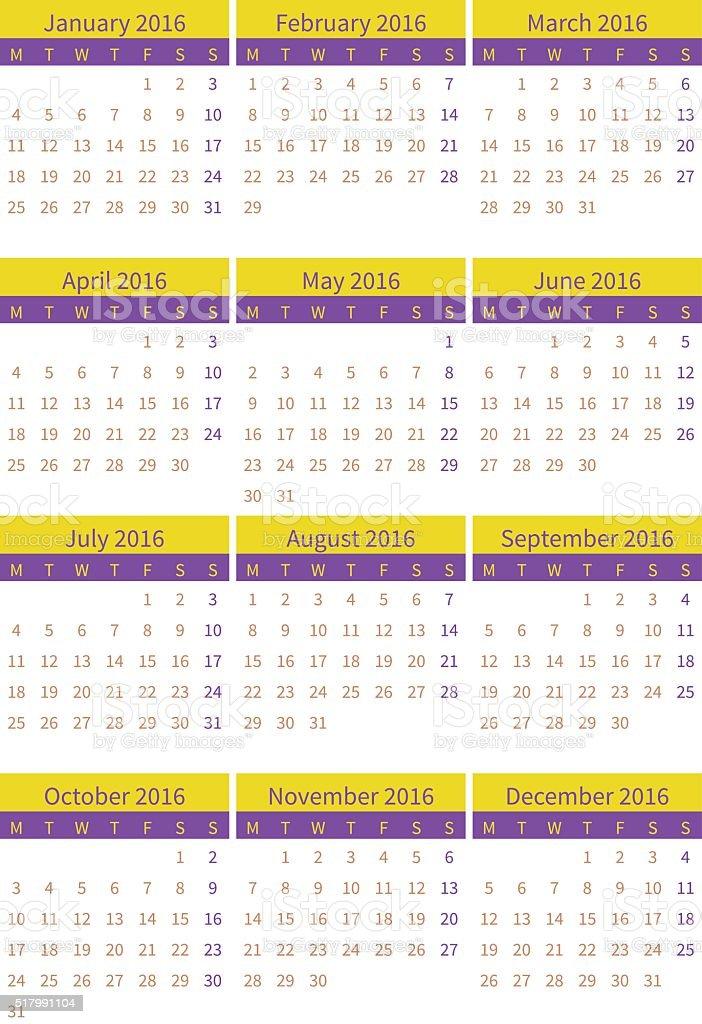 Settimane Calendario.Calendario Per 2016 Su Sfondo Bianco Verticale Settimane