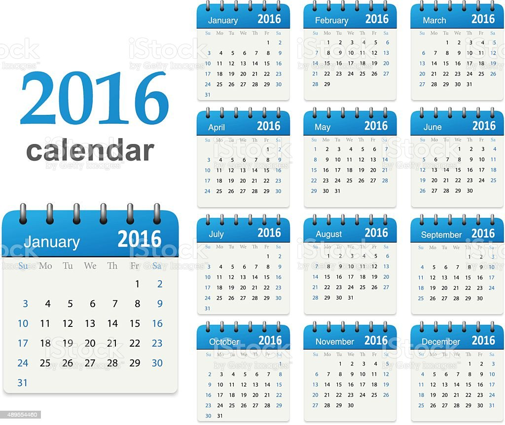 Calendar for 2016 - Vector vector art illustration