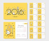 Calendar for 2016 with monkeys. Week starts on Monday Monkeys in a modern style, fine line.