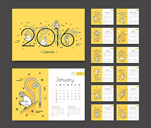 カレンダーは、2016 年に猿 - 動物のカレンダー点のイラスト素材/クリップアート素材/マンガ素材/アイコン素材
