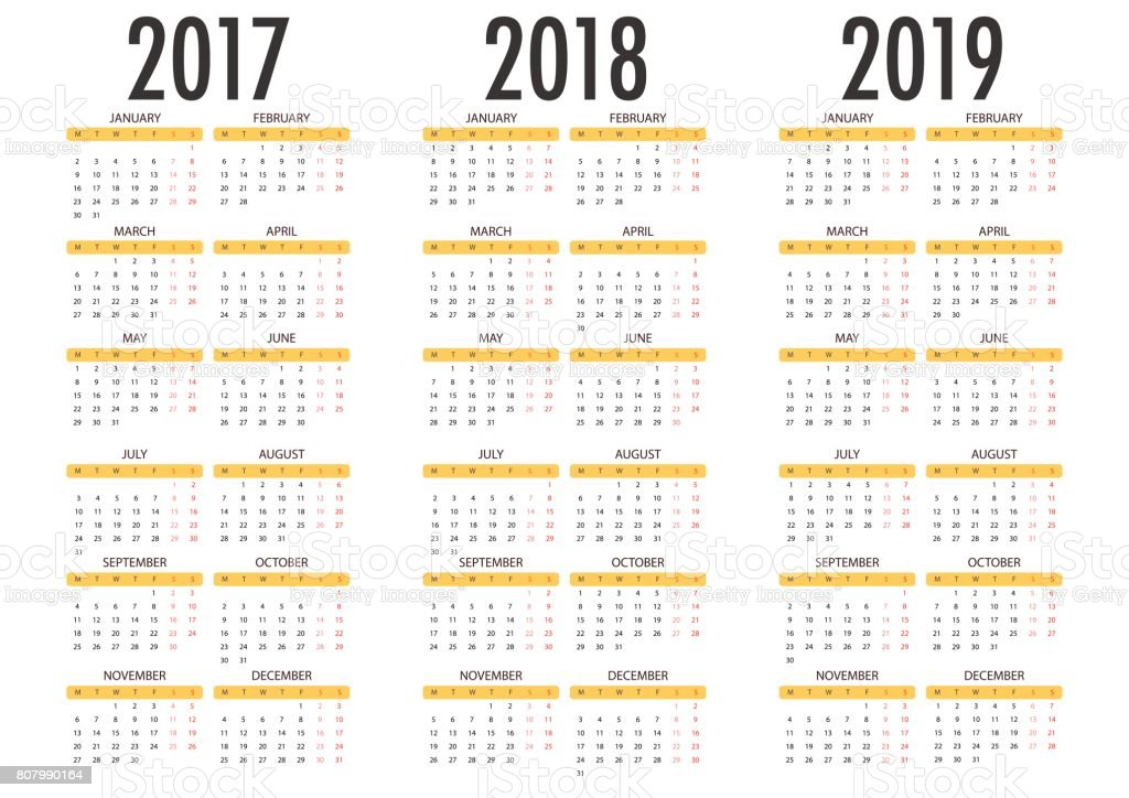 Calendar for 2017 2018 2019 on white background. vector art illustration